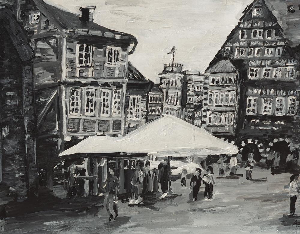 Schwarz weiß Innenstadt Bremen
