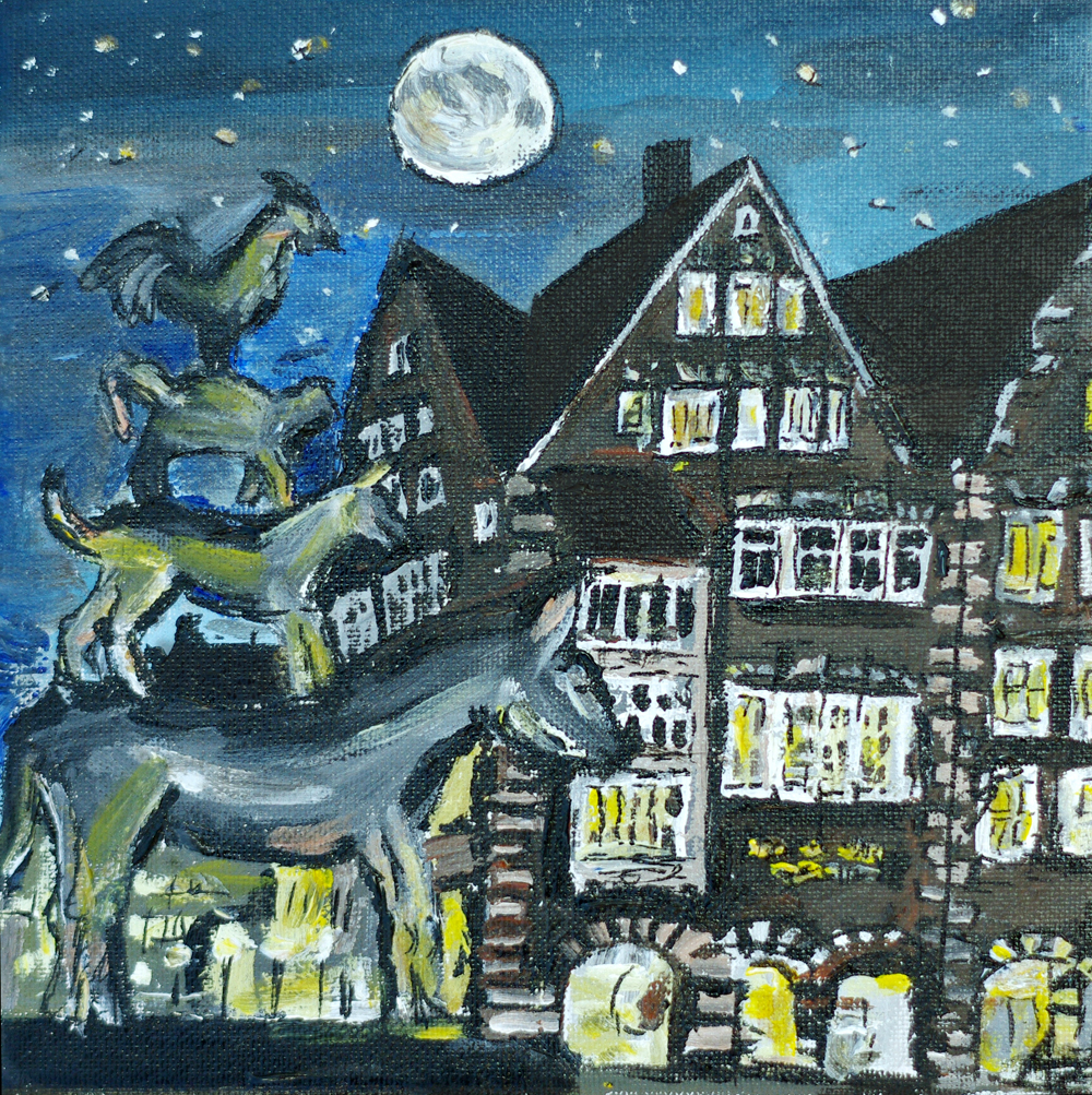 Stadtmusikanten bei Nacht